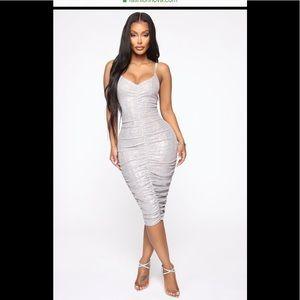 FashionNova Dress Metallic Mini Sz Sm Silver NWT
